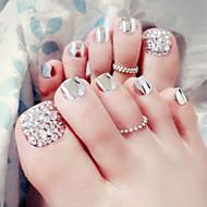 24pcs / set nagel strips van metaal zilver teennagels eindproduct voet patch