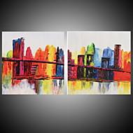 Ručně malované Abstraktní / Krajina / Abstraktní krajinka olejomalby,Moderní Dva panely Plátno Hang-malované olejomalba For Home dekorace