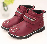 Boy's Boots Fall Winter Comfort PU Casual Platform Rivet Black Brown Burgundy Others