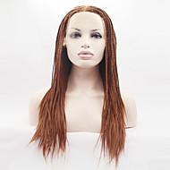 Mulher Perucas sintéticas Frente de Malha Longo Muito longo Liso Yaki Loiro Dourado Riscas Naturais Perucas Trançadas Tranças Africanas