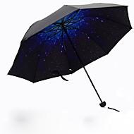 Blåt Sammenfoldet paraply Solparaply Plastic Klapvogn
