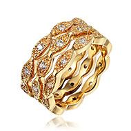 Pierscionek Cyrkonia Pozłacane 18K złoty Gold White Biżuteria Ślub Impreza Codzienny Casual 1szt
