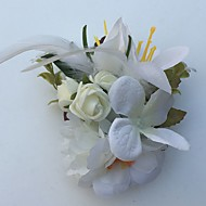 Bouquets de Noiva Rosas Lírios Alfinetes de Lapela Casamento Festa / noite Cetim Pele Strass