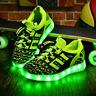 Boy's Sneakers Fall Winter Comfort PU Casual Flat Heel Magic Tape LED Black Green Red Royal Blue Other