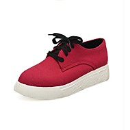 Women's Oxfords Spring Fall Creepers Comfort Canvas Outdoor Casual Athletic Flat Heel Lace-up Red Orange Walking