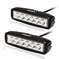 KAWELL 18W LED Light Bar 6.2 30 Degree for ATV Jeep boat suv truck car atvs light Off Road Waterproof Led Work Spot Light Bar Black Color (2 Pack)