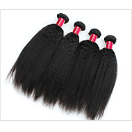 Brazilian Virgin Hair Kinky Straight Human Hair Weave Bundles 4Pcs 7A Grade Yaki Straight Hair  Weaves