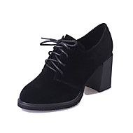 Women's Boots Fall Winter Comfort PU Casual Stiletto Heel Lace-up Black Green