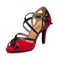 Obyčejné-Dámské-Taneční boty-Latina / Jazz / Taneční tenisky / Moderní-Kůže-Kačenka-Černá / Červená