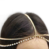 Women Bohemian Crystal Tassel Gold Silver Color Metal Chain Hair Bands With Multi Layered Hair Accessories