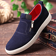 Men's Loafers & Slip-Ons Spring Fall Comfort Suede Casual Flat Heel Zipper Black Blue Red Others