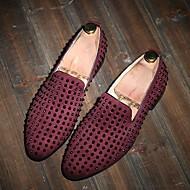 Herren-Loafers & Slip-Ons-Lässig-Leder-Flacher Absatz-Komfort-Schwarz Blau Burgund