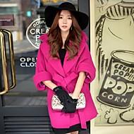 Alkalmi / Casual/hétköznapi / Szabadság Csinos / Utcai sikk / Ízléses Őszi / Téli-Női Kabát,Egyszínű Hasított rever Fél hosszú ujjú Piros