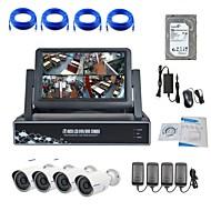caméra ip strongshine® avec 720p / infrarouge / résistant à l'eau et 4 canaux NVR avec des kits de surveillance hdd combo 7inch LCD / 1TB