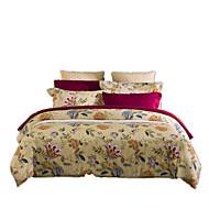 פרחוני סטי שמיכה 4 חלקים פולי / כותנה דוגמא הדפסה תגובתית פולי / כותנה זוגי / מלא / קווין / קינג4 יחידות (1 כיסוי שמיכה, 2 כיסוי כרית, 1