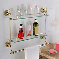 צדף לחדר האמבטיה / גאדג'ט לאמבטיה Ti-PVD התקנה על הקיר 60cm*14cm*47cm(23.6*5.5*18.5inch) פליז / זכוכית מודרני