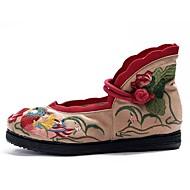 Kényelmes-Lapos-Női cipő-Lapos-Szabadidős Ruha Alkalmi-Vászon-Zöld Rózsaszín Piros