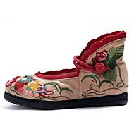 Dame-Lerret-Flat hæl-Komfort-Flate sko-Friluft Formell Fritid-Grønn Rosa Rød