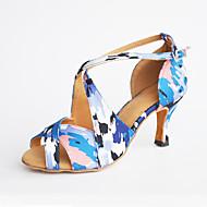 Sapatos de Dança(Azul / Vermelho) -Feminino-Personalizável-Latina / Moderna / Salsa