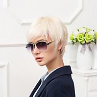 Femme Perruques capless à cheveux humains Noir de jais Blanc Beige Blonde // Blond Platine Court Raide Coupe Lutin Avec Frange Partie
