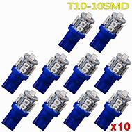 10 pcs de ultra azul 360 ° t10 cunha 10 SMD de carro cúpula interior mapa de carga levou luz
