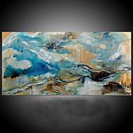 Pintados à mão Abstrato / Fantasia Pinturas a óleo,Moderno / Mediterrêneo 1 Painel Tela Pintura a Óleo For Decoração para casa