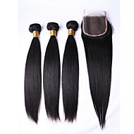 6A 3pcs 50g Black Straight plus Closure Human Hair Weaves Peruvian Texture Human Hair Extensions