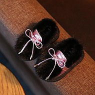 Girl's Baby Boots Moccasin Fur Casual Black Pink Silver