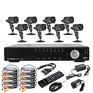 8-kanals D1 Real tid H.264 600TVL High Definition CCTV DVR Kit (8 Vanntett dag og natt CMOS kameraer)