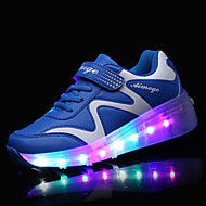 drengens sneakers foråret falde komfort pu udendørs flad hæl magic tape førte sorte pink skiløb sko