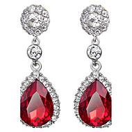 Brincos Compridos Rubi Cristal imitação de diamante Caído Vermelho Jóias Para Casamento Festa Diário 1 par
