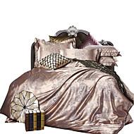 מוצק סטי שמיכה 4 חלקים פולי / כותנה יוקרתי ג'אקארד פולי / כותנה קווין קינג כיסוי שמיכת יחידה 1 כריות מיטה 2 יחידות סדין יחידה 1