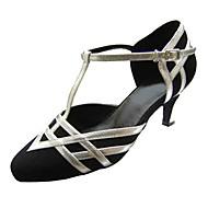 Obyčejné-Dámské-Taneční boty-Latina-Satén-Rozšiřující se-Černá bílá