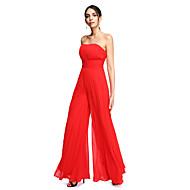 TS Couture® 포멀 이브닝 드레스 - 오픈 백 시스 / 칼럼 끈없는 스타일 바닥 길이 쉬폰 와 드레이핑 / 루시 주름 장식