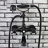 phasat® bronze tradicional terminar 2 alças torneira da banheira com chuveiro de mão
