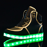 Unissex-Tênis-Conforto Light Up Shoes-Salto Baixo-Preto Vermelho Branco-Couro-Ar-Livre Casual Para Esporte