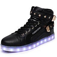 Unisex-Sneaker-Outddor Lässig Sportlich-PU-Flacher Absatz-Komfort Neuheit Light Up Schuhe-Schwarz Rot Weiß