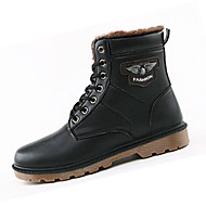 Men's Boots Fall Winter Comfort PU Casual Flat Heel Lace-up Black Brown Walking