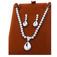 Jewelry Necklaces Earrings Party Zircon 1set Women Silver Wedding Gifts
