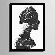 Абстракция Люди Холст в раме Набор в раме Wall Art,ПВХ материал Черный Без коврика с рамкой For Украшение дома Рамка Art