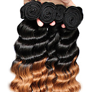 "3Pcs/Lot 12""-26"" Brazilian Virgin Hair Color 1B30 Loose Wave Human Hair Weaves"