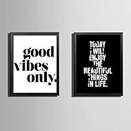 Слова Холст в раме Набор в раме Wall Art,ПВХ материал Черный Без коврика с рамкой For Украшение дома Рамка Art