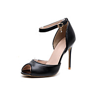 Three Seasons® Women's Heels Spring Fall Ankle Strap Leather Dress Party & Evening Stiletto Heel Crystal Buckle Black