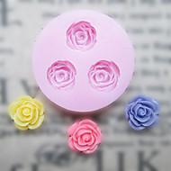 Flores DIY Três Buracos Flor Silicone Mold Fondant Moldes Sugar Craft Ferramentas Resina Mould moldes para bolos