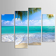 Canvas Set Landscape Floral/Botanical Modern Realism,Four Panels Canvas Any Shape Print Wall Decor For Home Decoration