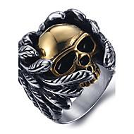 טבעות הצהרה טבעת פלדת טיטניום Skull shape אופנתי כסף תכשיטים יומי קזו'אל 1pc