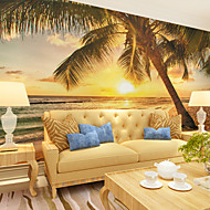 JAMMORY Wallpaper For Home Wall Covering Canvas Adhesive required Mural Seaside Landscape Sunset XL XXL XXXL