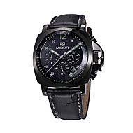 MEGIR Men's Sport Watch Military Watch Dress Watch Fashion Watch Wrist watch Quartz Calendar Genuine Leather Band Vintage Casual Silver