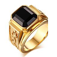 טבעות הצהרה טבעת שוהם ברקת פלדת טיטניום אופנתי אדום ירוק כחול מוזהב תכשיטים יומי קזו'אל 1pc