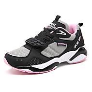 Feminino-TênisRasteiro-Branco Preto Rosa claro-Couro Ecológico-Ar-Livre Para Esporte